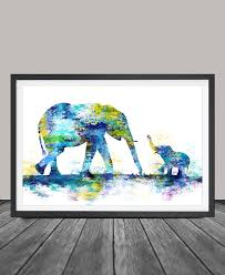 Large Abstract Painting Elephant Art Print Wall