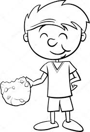 Black And White Cartoon Illustration Of Boy Eating Tasty Cookie For Coloring Book Vector By Izakowski