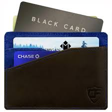 Card Blocr Minimalist Wallet In Brown Leather & Blue Suede ...