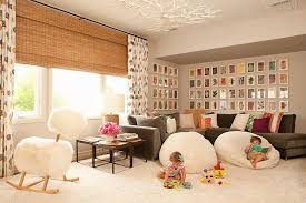 Family Room With Brown Velvet Sectional