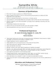 Medical Field Resume Examples Assistant On Cover Letter