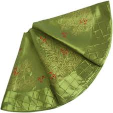 EXTRA LARGE 50 Faux Silk Berry Embroidered Deluxe Diamond Pintuck Border Christmas Tree Skirt Green P2739 In Skirts From Home Garden On