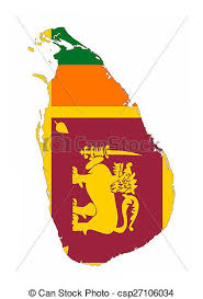 Sri Lanka Flag Map Stock Illustration
