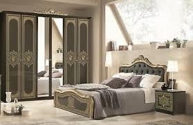 schlafzimmer in schwarz gold barock 160x200cm 4tlg