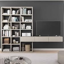 wohnzimmer regal mit tv board in beige marcallas