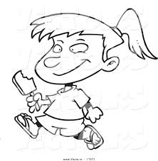 Vector of a Cartoon Girl Eating a Refreshing Popsicle Coloring Page Outline