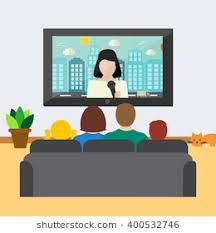 Family Watching News On Tv Vector Illustration Big Sitting The Couch In
