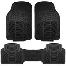BESTFH: 4PCS Complete All Weather Mats Set Black Floor Mats With ...