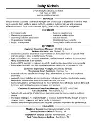 Customer Experience Manager Retail Food Service Resume