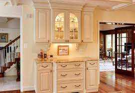 Rustic French Country Kitchen Level Shape Storage Drawers Built In Ovens Cream Color Granite Countertop