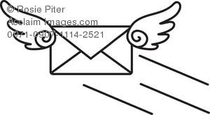 Clip Art Illustration A Black And White Flying Envelope Email Icon