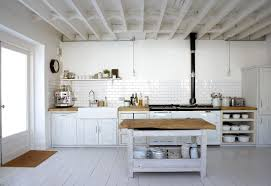 White Painted Wooden Cabinet With Butcher Block Countertops Country Rustic Style Kitchen Design Countryside Nuance Grab