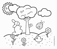 Drawing Spring Drawings Easy For Kids On Season Coloring Pages Rabbit Pencil Of