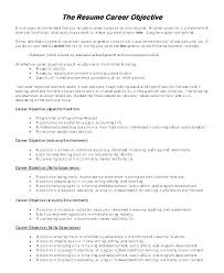 Objective For A Resume Any Job Objectives Sample Of General