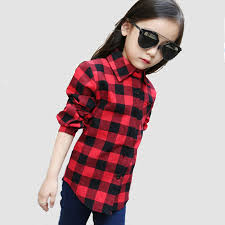 Fashion Spring Autumn Boys Shirts For Girl Plaid Long Sleeve O Neck Teenager Tops Cotton Children Clothings Kids Clothes In Blouses From