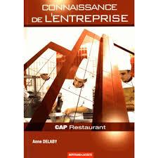 livre de cuisine cap connaissance de l entreprise cap cuisine et restaurant livre cap