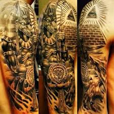 Half Sleeve Tattoo Of Egypt Themed Attributes