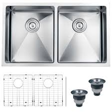 Overstock Stainless Steel Kitchen Sinks by Ruvati 16 Gauge Stainless Steel 32 Inch Double Bowl Undermount