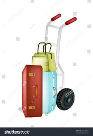 Hand Truck Dolly Loading Luggage Travel Stock Vector (Royalty Free ...