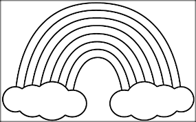 Coloring Pages Of Rainbows Rainbow With Clouds And