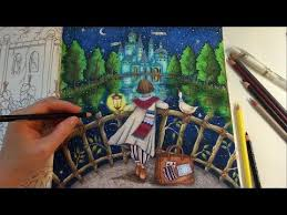 Sharing How I Color The Water Reflection Night Sky Castle Trees And Stars With Prismacolor Premier Colored Pencils Coloring Book Romantic Country