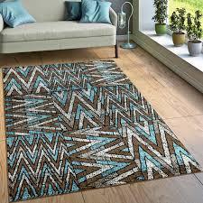 designer teppich wohnzimmer modernes zick zack muster braun beige türkis