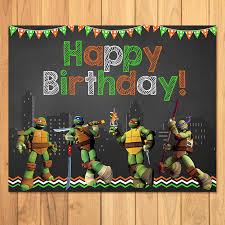 Ninja Turtle Decorations Nz by Teenage Mutant Ninja Turtles Birthday Sign Chalkboard Tmnt