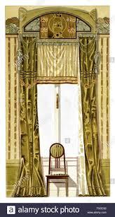 esszimmer fenster dekoration jugendstil vintage abbildung