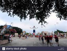 October 12 2013 Fans Gather In Front Of The New Big Tex Before An NCAA Rivalry Football Game Known As Red River Between University