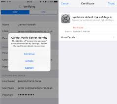 Issue Trusting Self Signed Certificates in iOS 10 Symbiosis