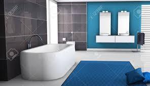 moderne badezimmer interieur mit zeitgemäßer badewanne design granit fliesen kissen und weißen boden 3d rendering