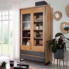 wildeiche wohnzimmer schrank mit glas einsätzen ocdoria