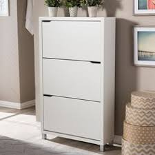 Baxton Studio Shoe Cabinet by Wooden Shoe Cabinet With Double Louvered Doors White Hc 005