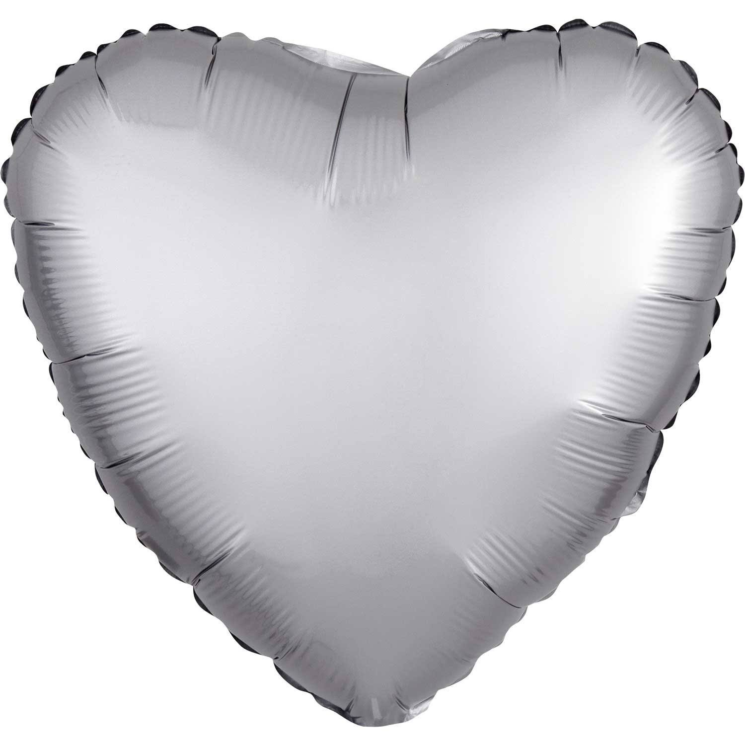 Heart Balloon Satin Platinum