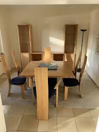 designer esszimmer großer tisch 6 stühle schrankwand