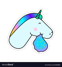 Unicorn Vomiting A Rainbow Fantasy Sticker Vector Image