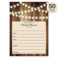 Rustic Bridal Shower Invitations With Envelopes Pack Of 50 Wood Lights Fill In
