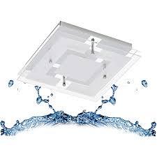 trango 3103 ip44 feuchtraum led deckenleuchte eckig aus metall mit design motive bedrückt glas lenschirm in 3 stufen dimmbar badezimmer