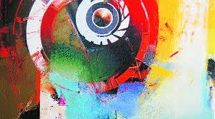 Rais Paintings Pictured Have Bursts Of Colour Surrounding A Circle Or Dot On