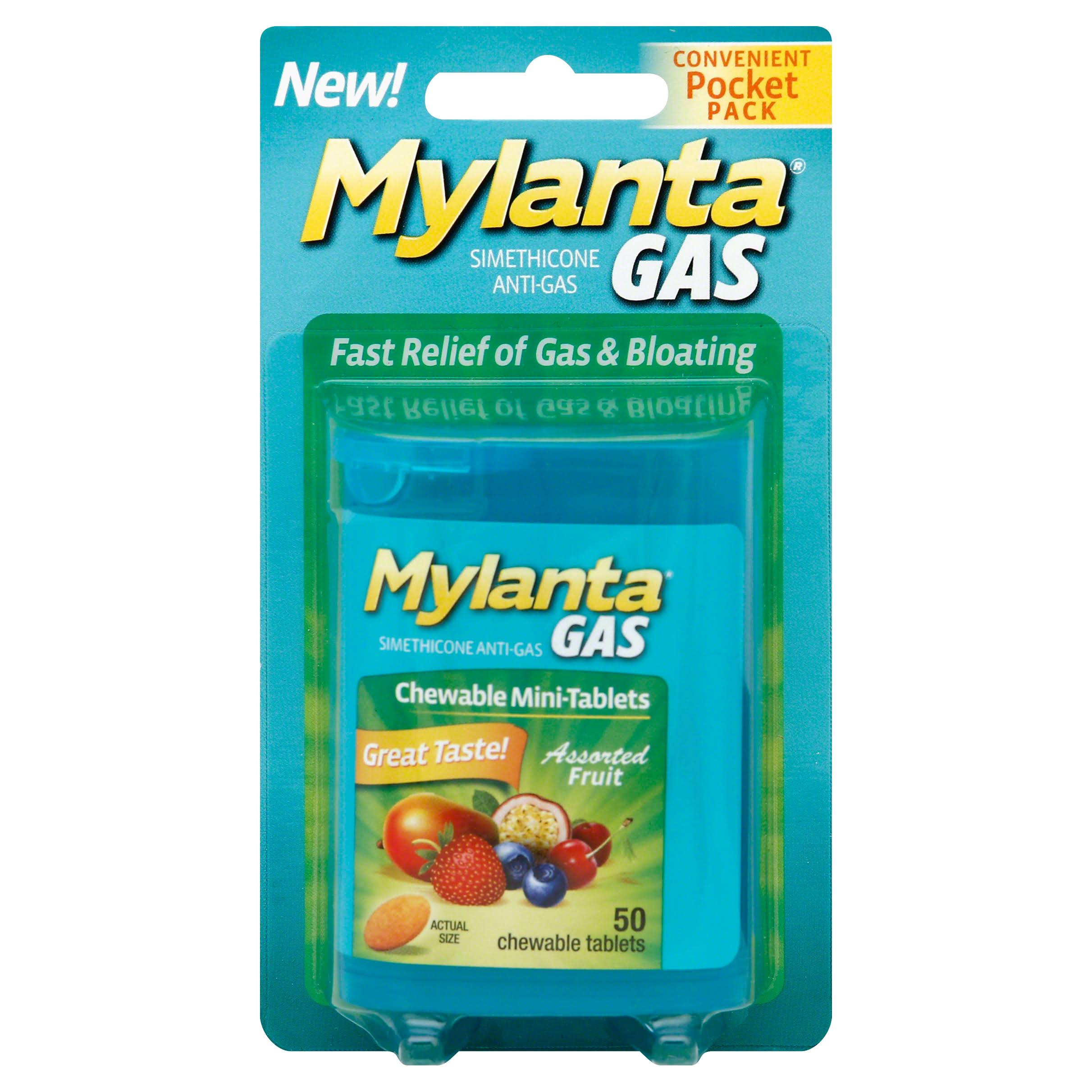 Mylanta Gas Minis Chewable Tablets - Assorted Fruit, 50ct
