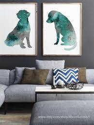 labrador retriever figur blau petrol aquarell set 2 poster bunten minimalistisch hunde motiv haus kunst wohnzimmer moderne wand hängen