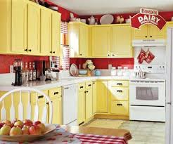 Red Crackle Paint On The Walls And Distressed Yellow Cabinetry