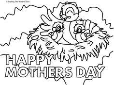 Journey Off The Map Bible Crafts See More Mothers Day Mama Bird Coloring Page