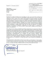 Carta Dirigida Al Señor Ministro De Trabajo David Luna