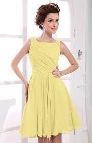 pastel yellow casual a line sabrina zipper chiffon ruching party