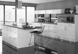 Elegant Apartment Kitchen Set Design With Grey Gloss Acrylic Cabinet Added White Panels As Inspiring Modern Kitchens Decoration Ideas
