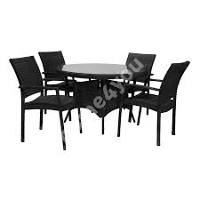 Garden Furniture Set WICKER Table And 4 Chairs (11892), D120xH76cm,  Aluminum Frame Plastic Wicker, Color: Black 3pc Black Rocker Wicker Chair Set With Steel Blue Cushion Buy Stackable 2 Seater Rattan Outdoor Patio Blackgrey Bargainpluscomau Best Choice Products 4pc Garden Fniture Sofa 4piece Chairs Table Garden Fniture Set Lissabon 61 With Protective Cover Blackbrown Temani Amazonia Atlantic 2piece Bradley Synthetic Armchair Light Grey Cushions Msoon In Trendy For Ding Fabric Tasures Folding Chairrattan Chairhigh Back Product Intertional Caravan Barcelona Square Of Six