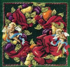 Rare Rossi Elegant Della Robbia Christmas Needlepoint Pillow Kit