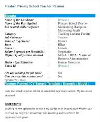 Resume Format Template Download Templates Teachers Fresher Primary Teacher Free