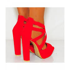 ladies red strappy high heels platforms shoes